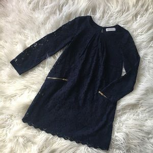 H&M Girls 6-8 Navy Lace Holiday Dress